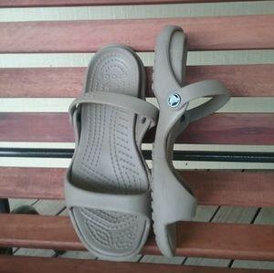 Crocs slip-on cutout sandals.